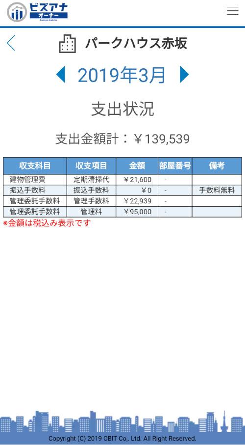 ビズアナオーナーLite支出状況画面